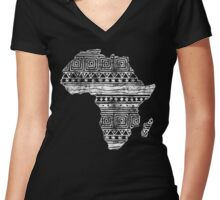 Patterned Map of Africa  Women's Fitted V-Neck T-Shirt