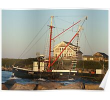 Galiee, rhode island beach fishing boat leaving Poster