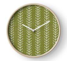 simple green leaf seamless pattern Clock