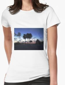 Palm Tree Scenery Womens Fitted T-Shirt