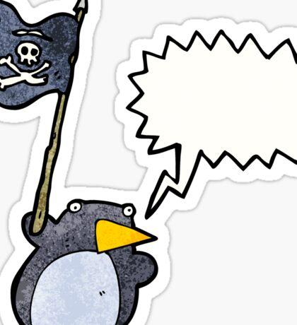 cartoon penguin waving pirate flag Sticker