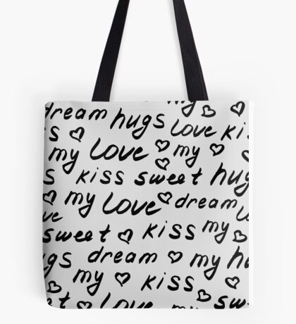 Love lettering hand drawn pattern Tote Bag