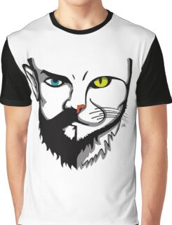 Beards and Cats || Merged faces Graphic T-Shirt