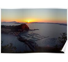 Sunset at Parco Virgiliano with a view on Nisida Island and the entire Baia coast (Naples, Italy) Poster