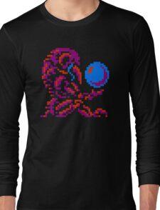 Metroid Chozo - Pink on Black Long Sleeve T-Shirt