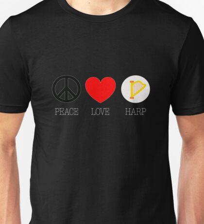 Peace Love Harp Cute musician Tee Shirt Unisex T-Shirt