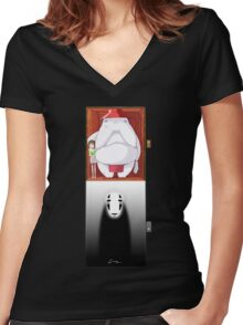 Spirited Away - No Face Women's Fitted V-Neck T-Shirt