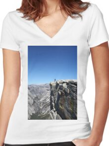 Climbing Half Dome rock at Yosemite national Park, California USA Women's Fitted V-Neck T-Shirt