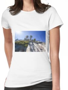 Climbing Half Dome rock at Yosemite national Park, California USA Womens Fitted T-Shirt