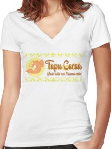 Tapu Cocoa - Distressed Logo 2 Women's Fitted V-Neck T-Shirt