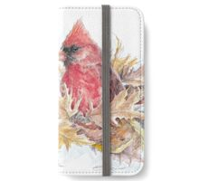 Female and Male Cardinal Among the Fall Leaves iPhone Wallet/Case/Skin