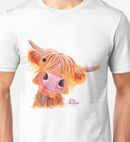 Highland Cow 'NESSIE' from Original Painting by Shirley MacArthur Unisex T-Shirt