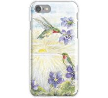 The Hummingbirds with the Violets  iPhone Case/Skin