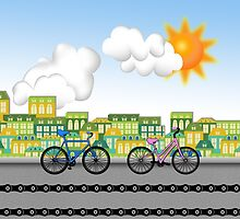 Biking through the City by Carol Vega