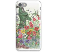 Water Pump, Birds, and Pansies  iPhone Case/Skin
