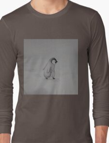 Baby Penguin Black and White Watercolor Long Sleeve T-Shirt