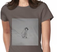 Baby Penguin Black and White Watercolor Womens Fitted T-Shirt