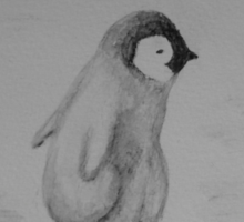 Baby Penguin Black and White Watercolor Sticker