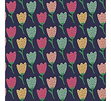 Doodle  tulip pattern. Сute seamless background. Flower backdrop. Photographic Print