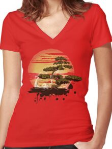 Bonsai Tree Karate Dojo Women's Fitted V-Neck T-Shirt