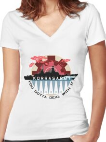 Korrasarmy: You Gotta Deal With It! (Light Colors) Women's Fitted V-Neck T-Shirt