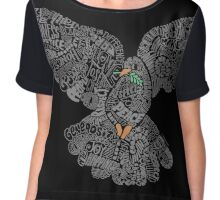 Typographic Peace Dove (black) Chiffon Top