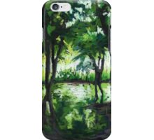 Spring landscape with green trees and lake iPhone Case/Skin
