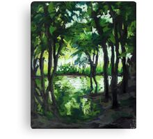 Spring landscape with green trees and lake Canvas Print