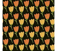 Doodle yellow tulip pattern. Cute seamless background. Flower backdrop. Photographic Print