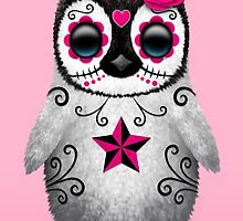 Pink Day of the Dead Sugar Skull Penguin  by Jeff Bartels