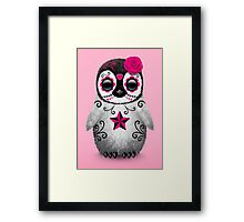 Pink Day of the Dead Sugar Skull Penguin  Framed Print