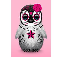 Pink Day of the Dead Sugar Skull Penguin  Photographic Print
