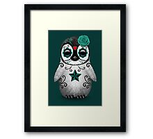 Teal Blue Day of the Dead Sugar Skull Penguin  Framed Print