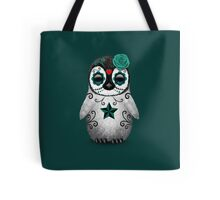 Teal Blue Day of the Dead Sugar Skull Penguin  Tote Bag