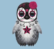 Pink Day of the Dead Sugar Skull Penguin  Kids Clothes