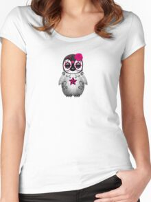Pink Day of the Dead Sugar Skull Penguin  Women's Fitted Scoop T-Shirt