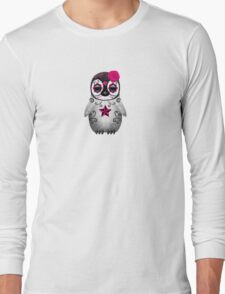 Pink Day of the Dead Sugar Skull Penguin  Long Sleeve T-Shirt