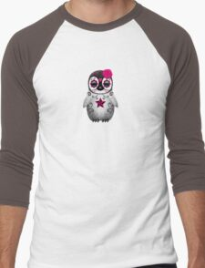 Pink Day of the Dead Sugar Skull Penguin  Men's Baseball ¾ T-Shirt