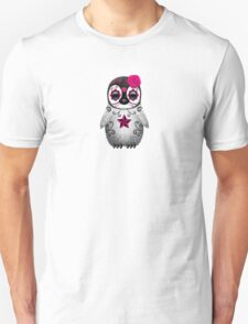 Pink Day of the Dead Sugar Skull Penguin  Unisex T-Shirt