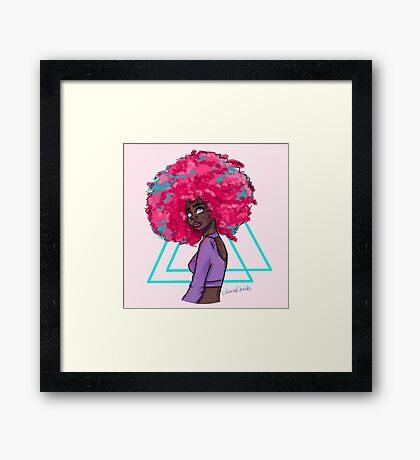 Neon Afro Framed Print