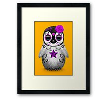 Purple Day of the Dead Sugar Skull Penguin  Framed Print