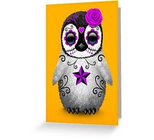 Purple Day of the Dead Sugar Skull Penguin  Greeting Card