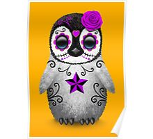 Purple Day of the Dead Sugar Skull Penguin  Poster