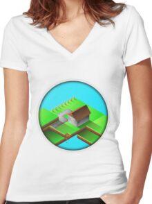 Homestead Design By Inkblot Women's Fitted V-Neck T-Shirt