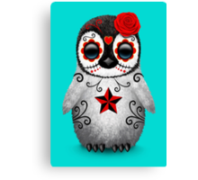 Red Day of the Dead Sugar Skull Penguin  Canvas Print