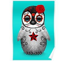 Red Day of the Dead Sugar Skull Penguin  Poster
