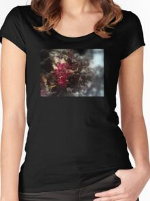 red Malus 'Radiant'  crab apple blossoms #2, focal black & white Women's Fitted Scoop T-Shirt
