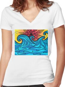 Aztec sun waves Women's Fitted V-Neck T-Shirt