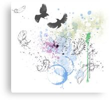 Artistic Birds and Feathers Canvas Print