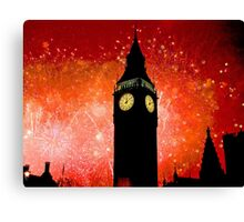 Big Ben - New Years Eve Fireworks 2010 -  2011 - HDR Canvas Print